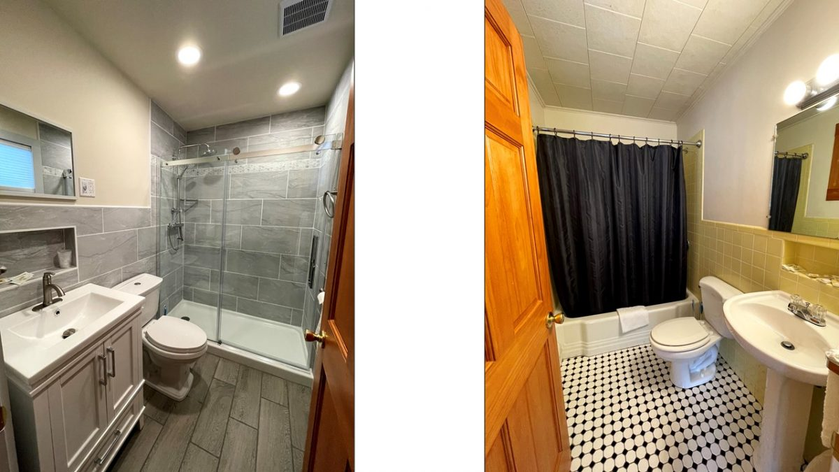 Rooms 12 and 14 bathrooms
