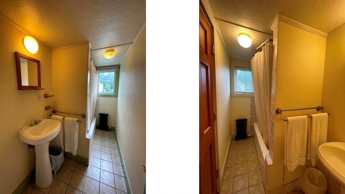 Ensuite bathrooms in Room 6 and Room 7, respectively
